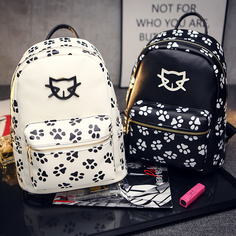 2016 Spring Summer Trend Women s Cat Backpacks Girls Fashion Bag Travel PU leather Bags Students