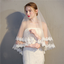 75CM Lace Edge Short Wedding Veil with Comb Two Layers Tulle Bridal Accessories Veu de Noiva