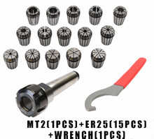 купить ER25 Spring Clamps 15PCS MT2 ER25 M12 1PCS ER25 Wrench 1PCS Collet Chuck Morse Holder Cone For CNC Milling Lathe tool дешево