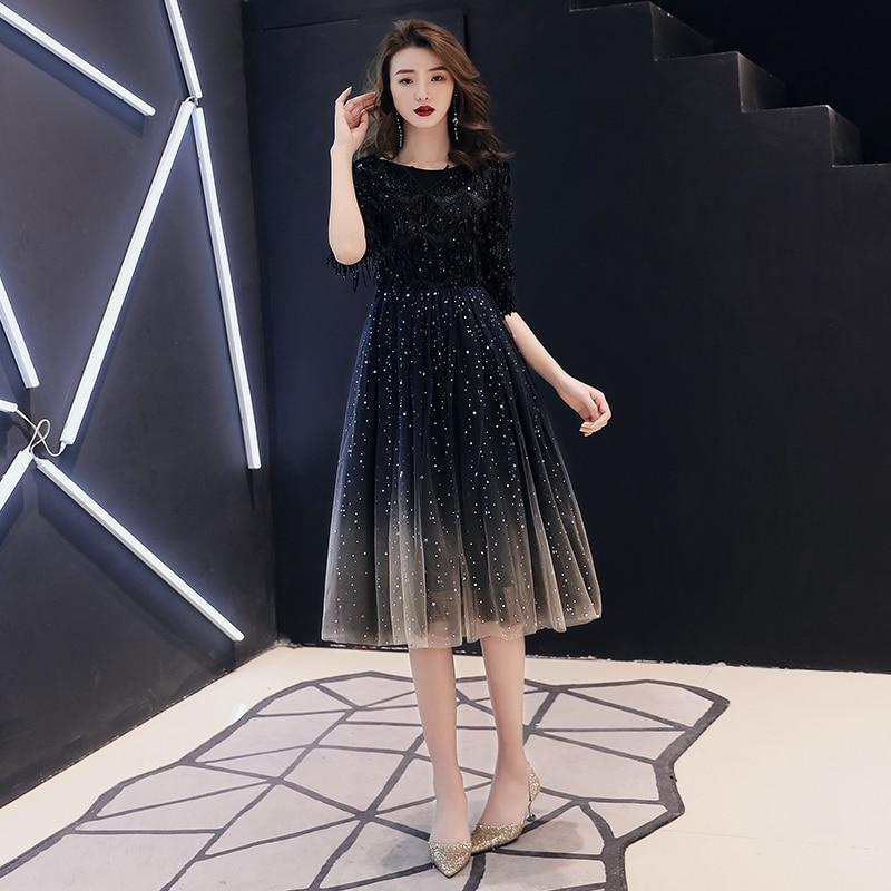 2019 New The Banquet Black Tasse A-line Half Sleeve Tea-length Tulle Party Formal Evening Dresses Robe De Soiree LF225