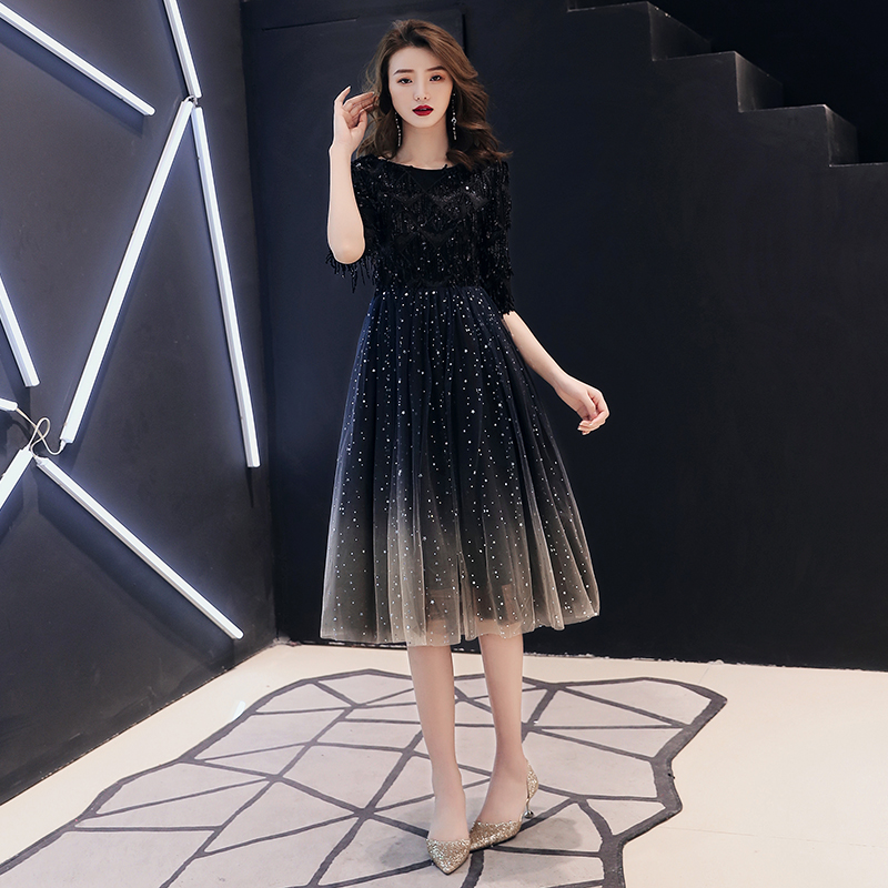 2020 New The Banquet Black Tasse A-line Half Sleeve Tea-length Tulle Party Formal Evening Dresses Robe De Soiree LF225