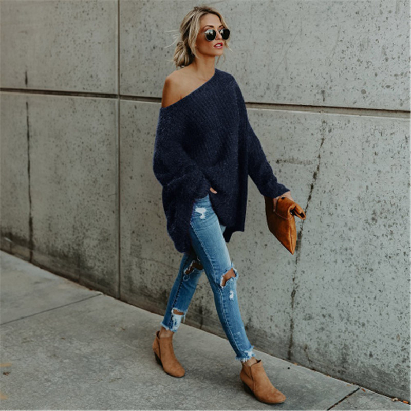 2018 herbst Winter Neue Frauen Pullover Kleid Long Sleeve Solide Strick Mini Kleid Dicken stricken Kurze Dünne Schulter Fit kleid