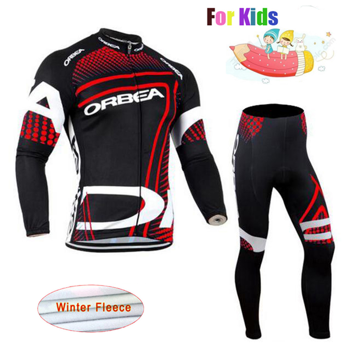 ORBEA Winter Thermal Fleece Long Sleeve Children Cycling Jersey Set Professional Customization Quick Dry Kid Riding Kit with Pad