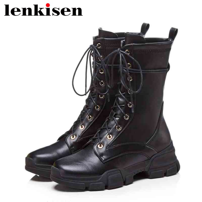 Lenkisen lace up motorcycle med bottom keep warm round toe genuine leather concise style woman autumn winter leisure boots L76Lenkisen lace up motorcycle med bottom keep warm round toe genuine leather concise style woman autumn winter leisure boots L76