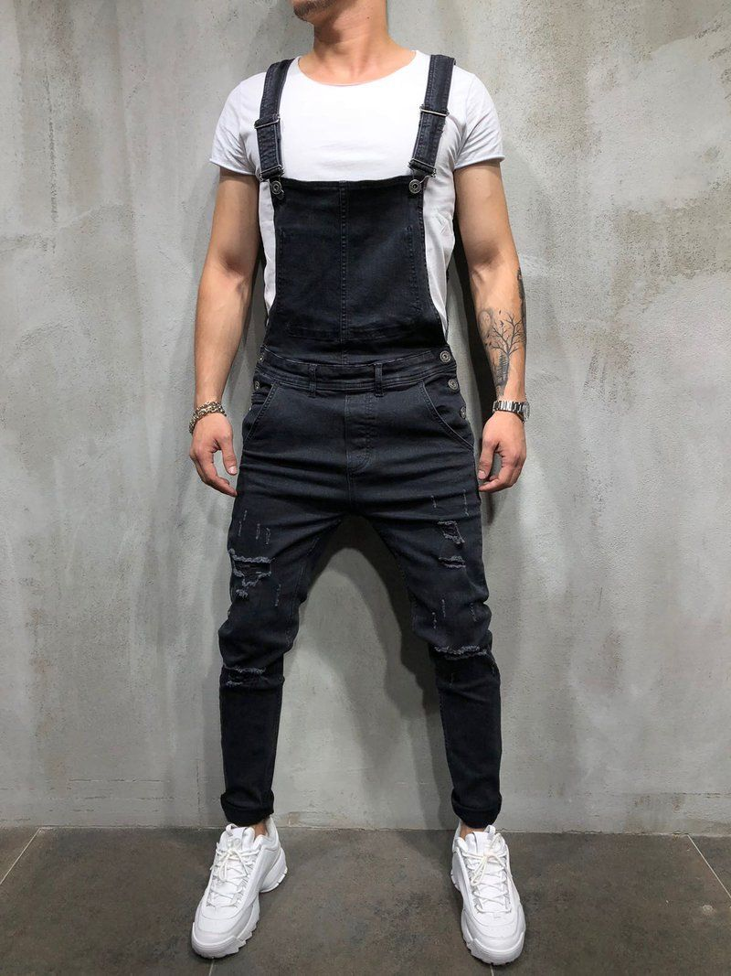 Fashion Men's Ripped Jeans Jumpsuits Hi Street Distressed Denim Bib Overalls For Man Suspender Pants Streetwear Size S-XXXL