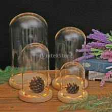 DIY Landscape Glass Dome Cover Shade With Wood Cork Home Decor Air Plant Flower Vase Container Miniatures Shield(China)