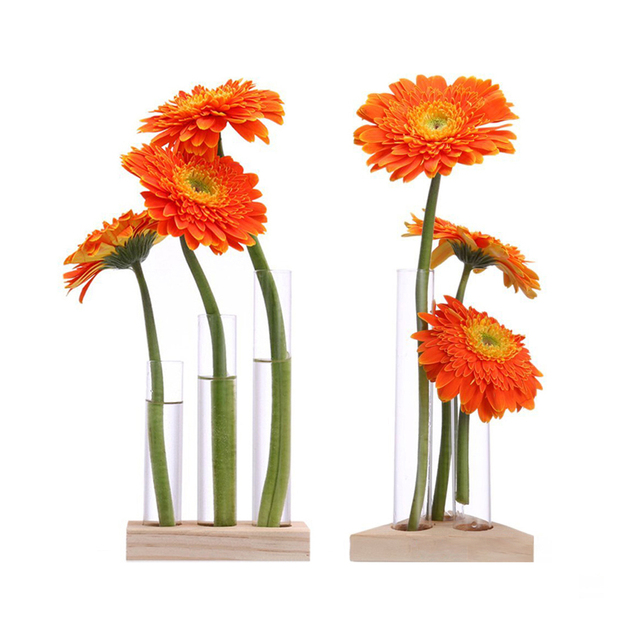Flower Vase Glass Tubes Clear Glass Flower Pot With Wooden Stand For