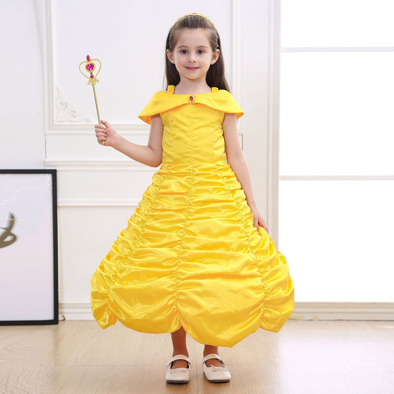 Children Beauty And The Beast Bell Princess Costumes Cosplay Yellow Long Dress For Girls Halloween Party Cosplay Size XS-3X