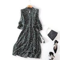 100% Silk print three quarter party dress 2018 new runway women summer dress high quality office lady a line dress