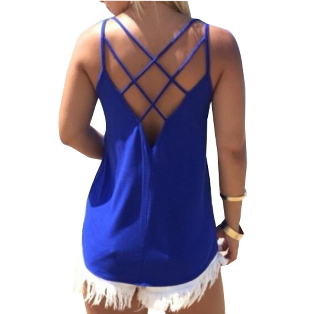Cross Spaghetti Strap Hollow Open Back Top Casual Sheer -5494