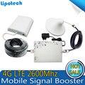 4G LTE 2600 MHZ Cell Phone Signal Booster Móvel Repetidor Amplificador Cobertura 300 Praça Celular Com Cabo + Antena