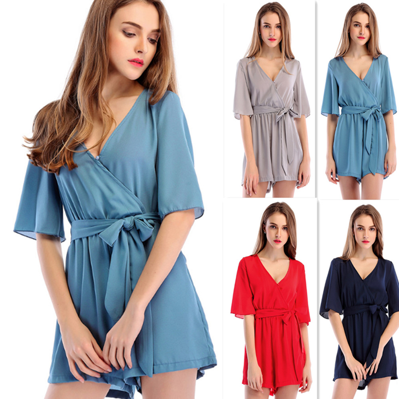 Rompers Womens Jumpsuit Summer Short Sleeve V Neck Pleated Overalls Jumpsuits Sashes Loose Solid Female Casual Jumpsuit ...