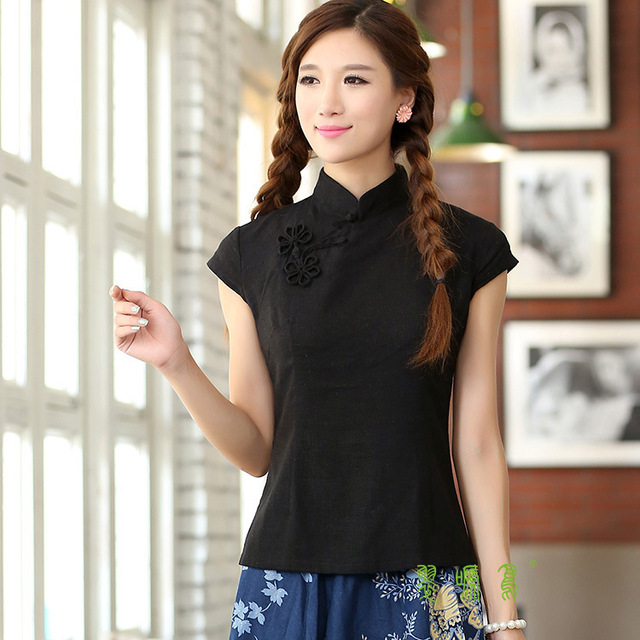 b9c99b3e057 Shanghai Story Short Sleeve national trend Qipao Shirt Chinese cheongsam  top traditional Chinese Women s Top Linen blouse top