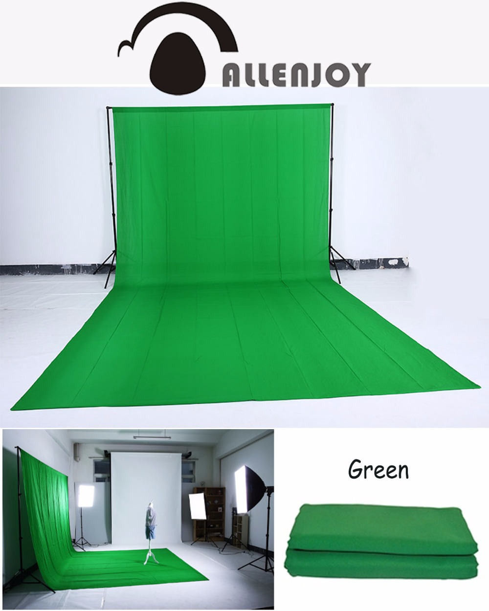 Allenjoy Hromakey Green screen background chromakey muslin backdrop for video Customized Size Professional Photo Lighting Studio photo lighting studio chromakey green screen muslin background backdrop 3x6m