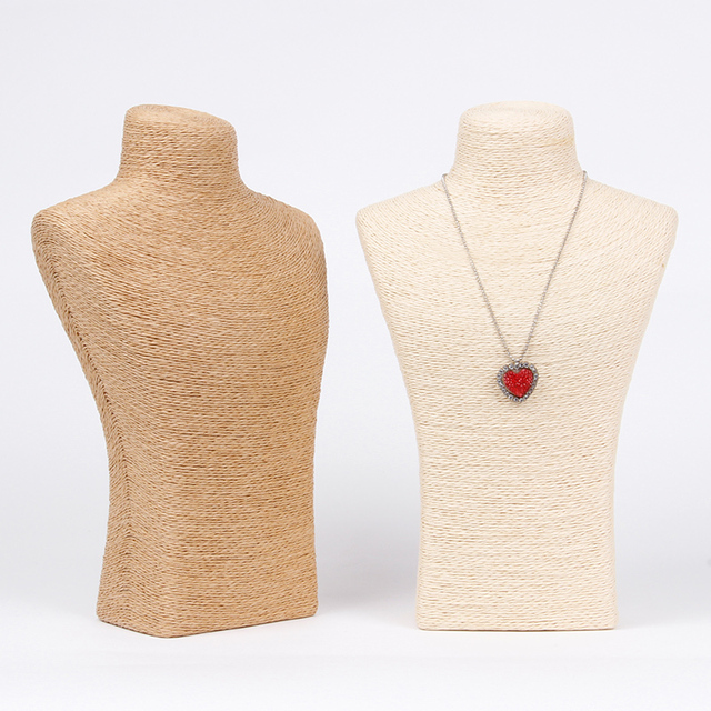 Wholesale Necklace Pendant Linen Burlap Chain Link Jewelry Bust Display Stand Holder 28cm H