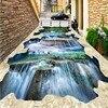 Free Shipping Waterfalls Scenery 3D Flooring Wallpaper Kitchen Home Lobby Restaurant Walkway Floor Wallpaper Mural