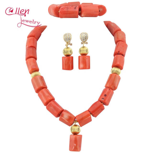 Nigerian Wedding beads Jewelry Set natural Coral Beads Necklace Set Bracelet Earrings African beads Jewelry Set   E1188