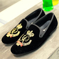 New Black Embroidery Loafers Men Luxury Velvet Smoking Slippers British Mens Casual Boat Shoes Slip On Flat Shoes Espadrilles