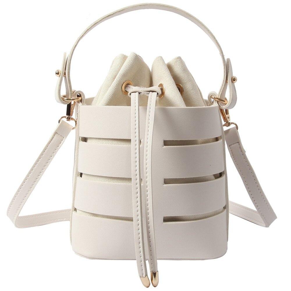 800aeeab9362 Chic Fashion Bucket Bag For Women 2019 Summer Beach Bag PU Leather Shoulder  Bag Set Drawstring