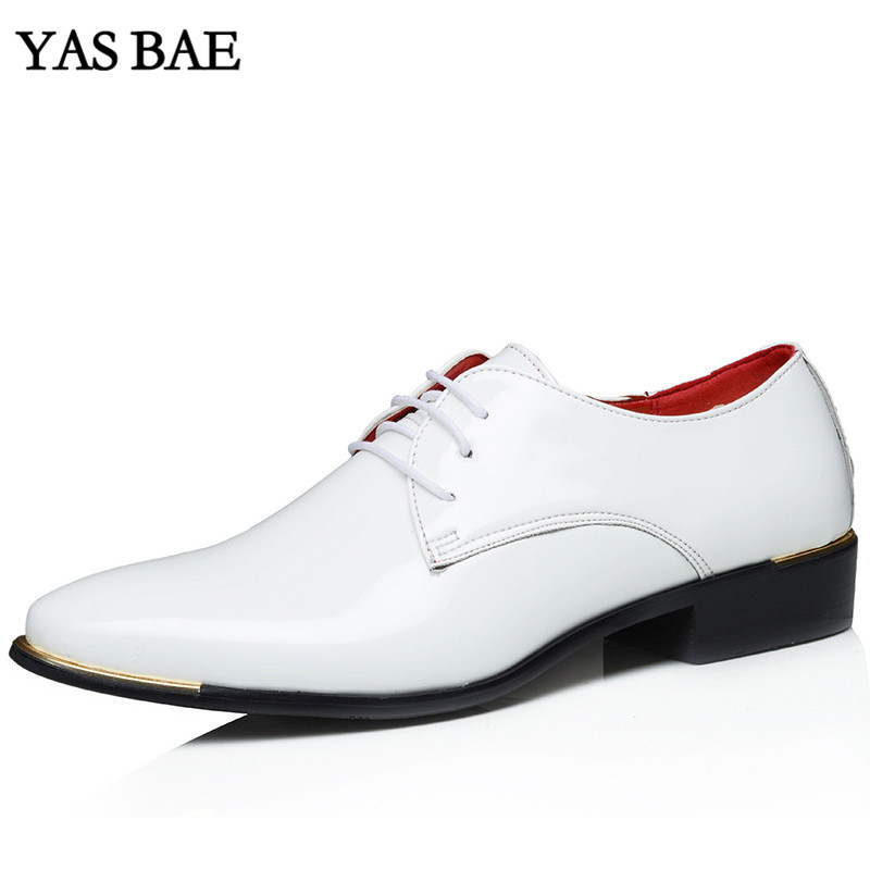Big size china brand classic male Footwear Brown black White Push dress patent leather office Large Social elegant shoe for men