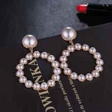 HOCOLE Trendy Charm Pearl Drop Earrings For Women Fashion Statement Crystal Round Dangle Earring Wedding Bridal Jewelry Girl2019