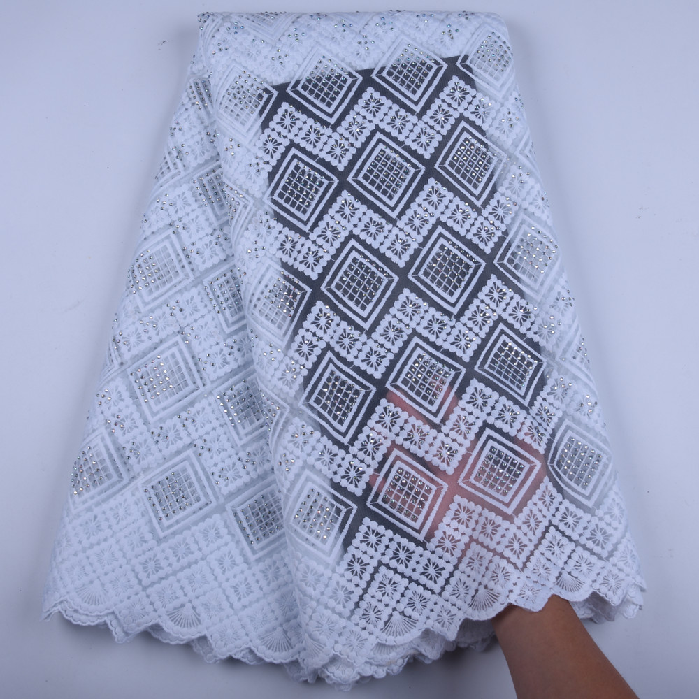 Pure White African Lace Fabric 2019 High Quality French Mesh Lace Fabric Stones Nigerian Milk Silk