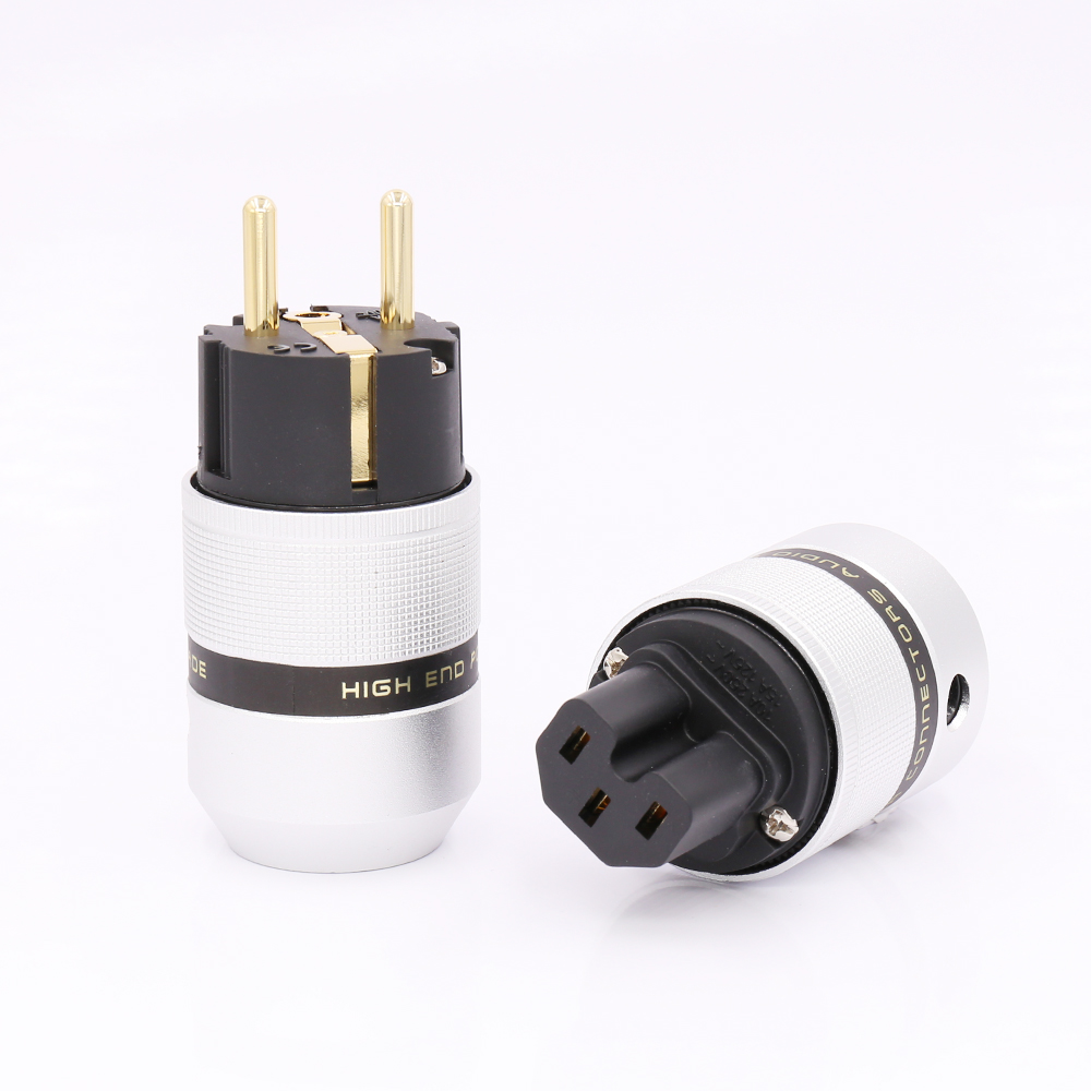 Hi End Audio Aluminum Gold Plated Schuko Power Plug Connector+IEC Female Plug power plug For Audio Connector Schuko free shipping 5pairs high end 24k gold plated schuko ac power plug iec power connector