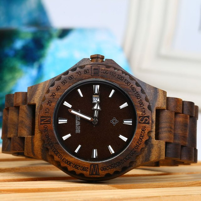 Bewell ZS-W086B Luxury Brand Wood Watch Men Analog Quartz Movement Date Waterproof Wooden Watches Male Wristwatches relogio