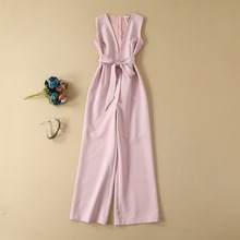 High Quality Runway Jumpsuits 2019 Summer Overalls Women Sexy Deep V-Neck Bow Belt Patchwork Straight White Pink Club Jumpsuit