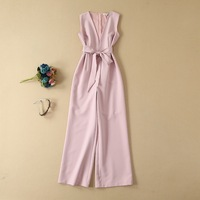High Quality Runway Jumpsuits 2019 Summer Overalls Women Sexy Deep V Neck Bow Belt Patchwork Straight White Pink Club Jumpsuit