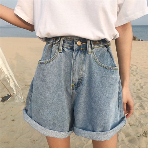 Denim Vintage Light Blue Solid Fashion High Waist Simple 2018 New Arrival Loose Casual Female   Shorts