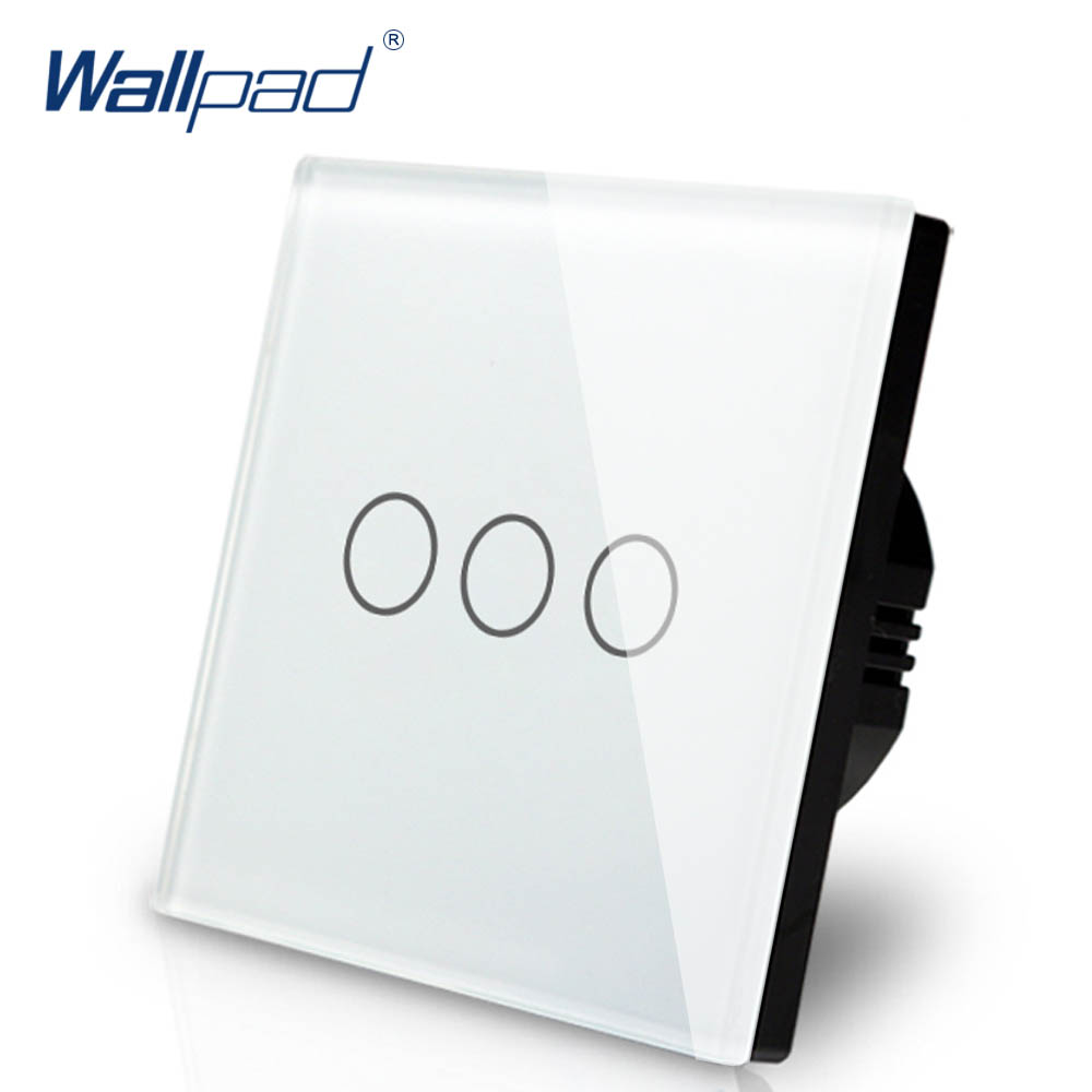 3 Gang Dimmer Switch 1 Way Wallpad Luxury White Crystal Glass Wall Switch Touch Switch Normal 110-250V European Standard цена