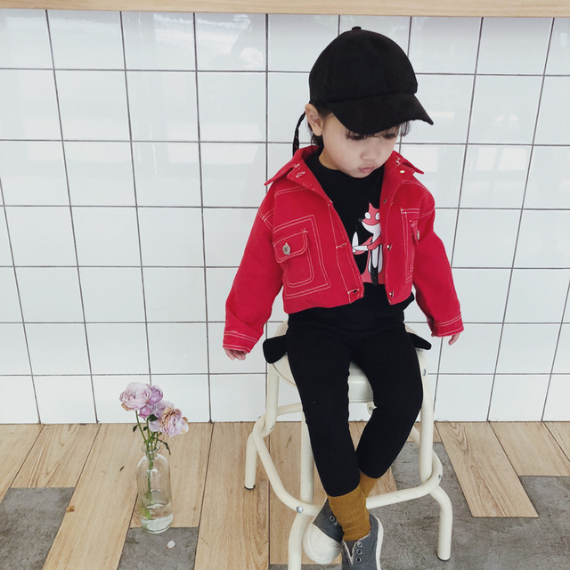 2018 Spring New Style Boys And Girls Red Denim Jacket Children S