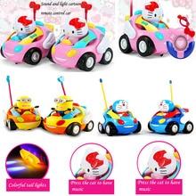 Новинка 2016 детей Электрический мультфильм автомобиль дистанционного управления с музыкой для маленьких детей игрушки Рождество день рождения для подарка szjuyi