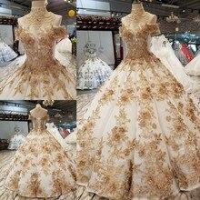 2018 דפוס חדש אחת כלה מילת כתף קוריאני טיפוח עצמי דק תמציתי ארוך עוקב צבע חתונה שמלת שמלה מלאה