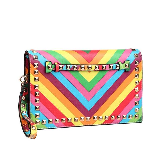 Women Envelope Clutch Bags Rivet Leather Valentile Bag Messenger Chain Bag Evening Hand Bags 2015 New Pochette Bolsas Mujer