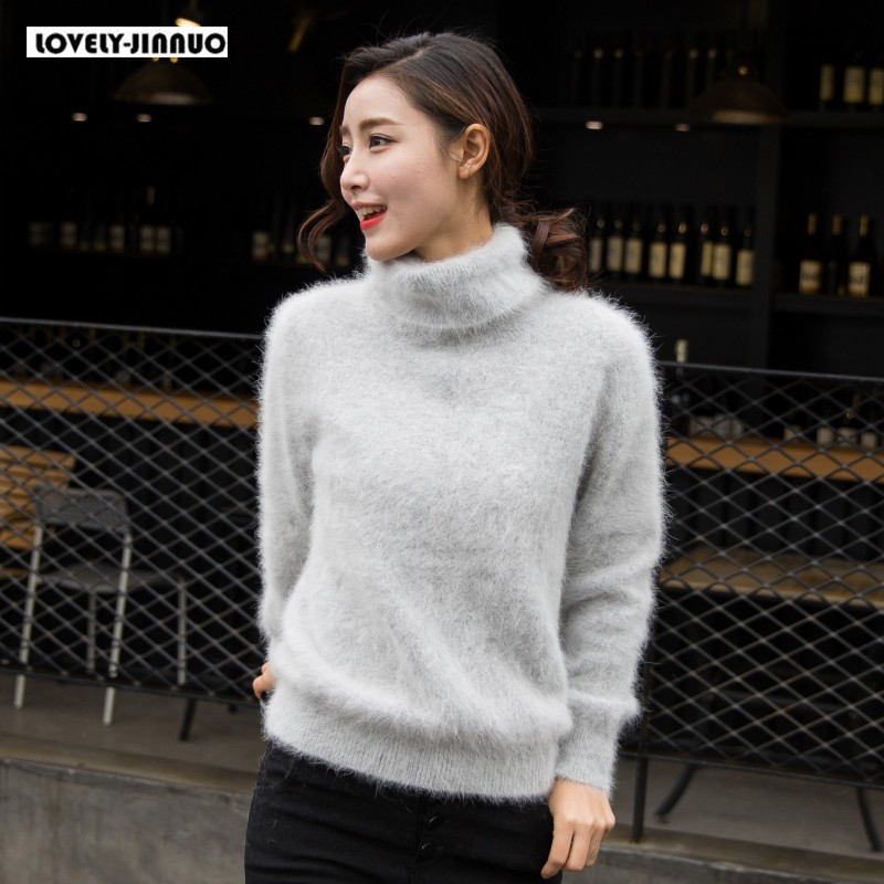 New Europe Women 100% Real Mink Cashmere Sweater Female Turtleneck Sweater Loose Thickened Base Free Shipping JN245