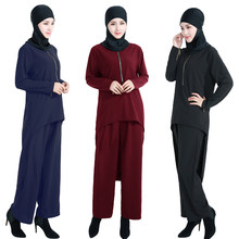 Muslim Tuxedo Outfits Suit Islamic Abyay Arab Robe Jilbab Fashion Women's Turkish Amira Dubai Dress Worship Service(China)