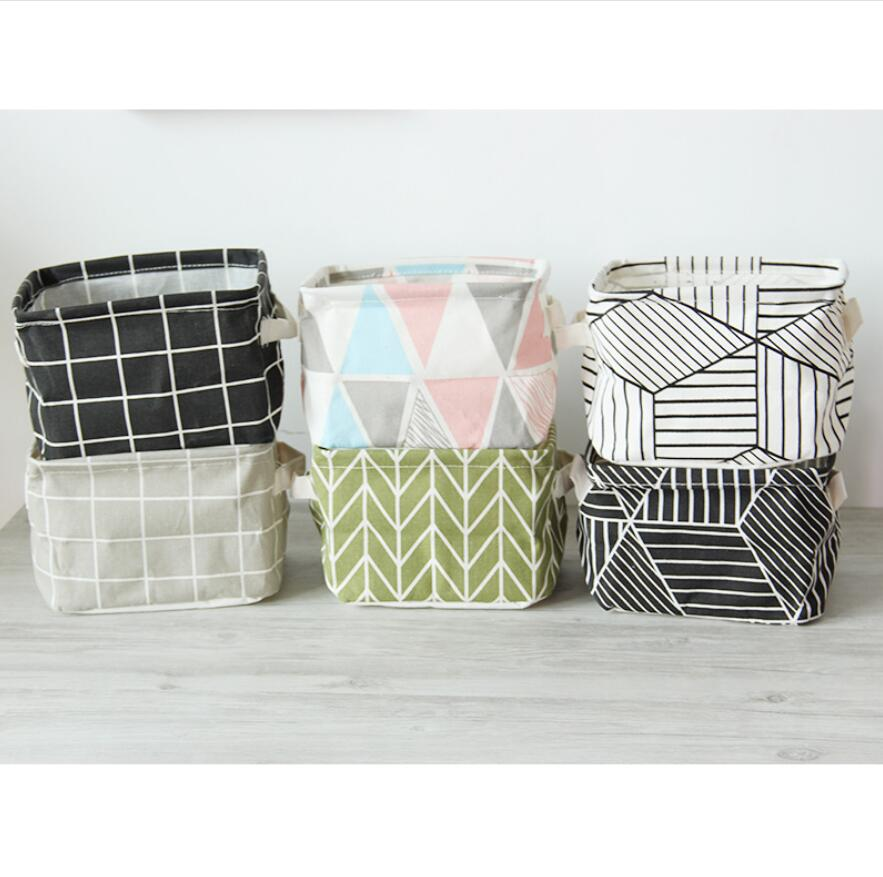 1pcs Desktop Storage Bag Cotton Linen Cosmetic Magazine Makeup Organizer Storage Box Organizer Case