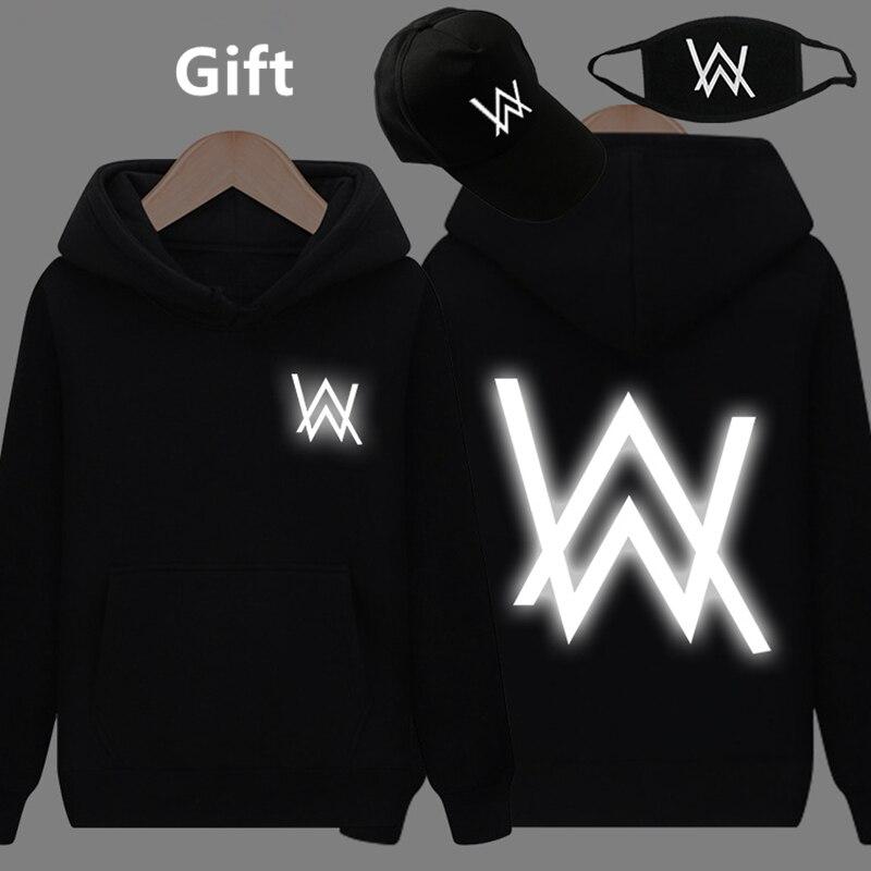 Maschera & Cap come Regali Alan Walker caldo pullover con cappuccio luminoso raggiante in dark hip hop Rapper Bboy giacca con cappuccio tute cappotto