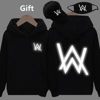 Mask& Cap as Gifts Alan Walker warm pullover hoodies luminous glowing in dark hip hop Rapper Bboy hooded jacket coat tracksuits