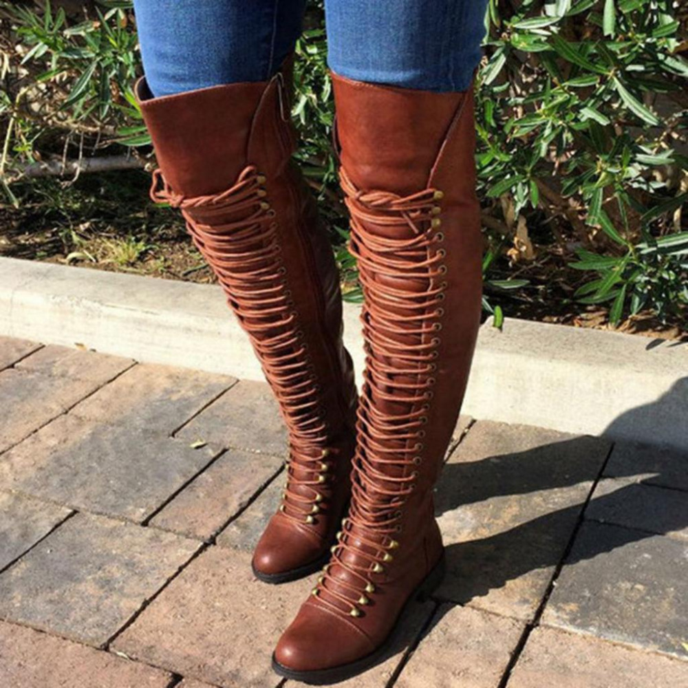 spring Slim Boots Sexy Lace-Up over the knee high women boots PU leather women's fashion antumn thigh high boots shoes woman jialuowei women sexy fashion shoes lace up knee high thin high heel platform thigh high boots pointed stiletto zip leather boots