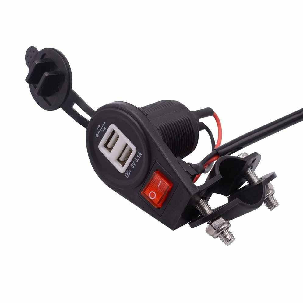 Motorcycle Car Charger 12V-24V Cigarette Lighter with Switch