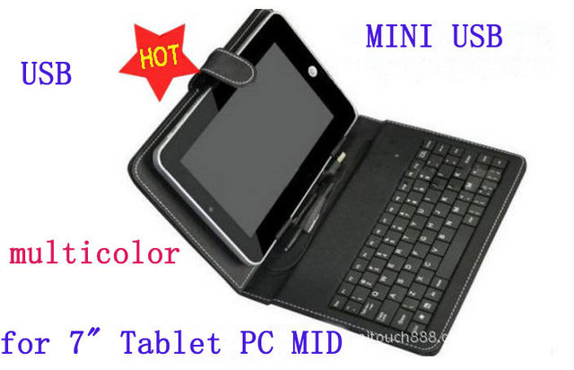 "Free Drop  Shipping Leather Case Mini USB &USB  Keyboard   for 7"" 7 inch Tablet PC  windows  Android  Pad MID"