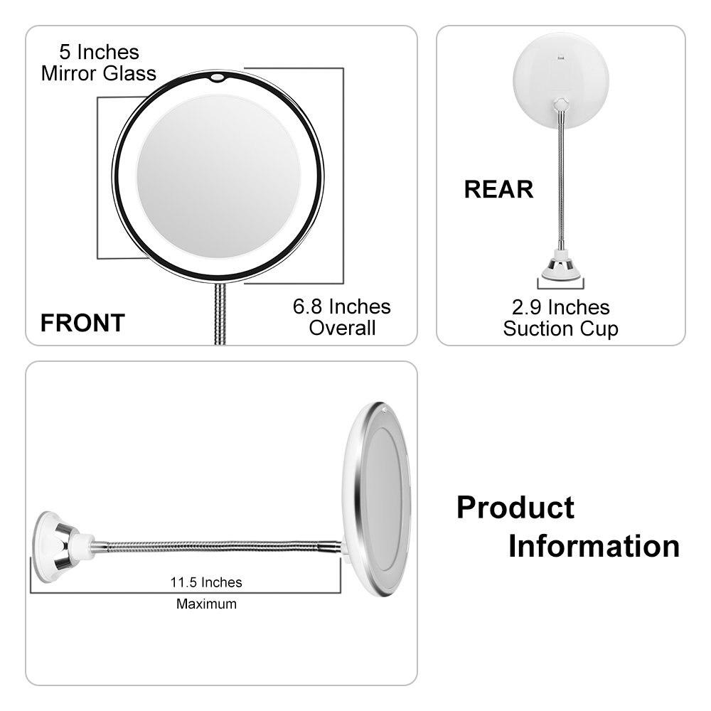 360 градусов гибкое зеркало для макияжа с освещенный туалетный столик зеркало 10X увеличительное Miroir ванная комната спальня лампа ночник