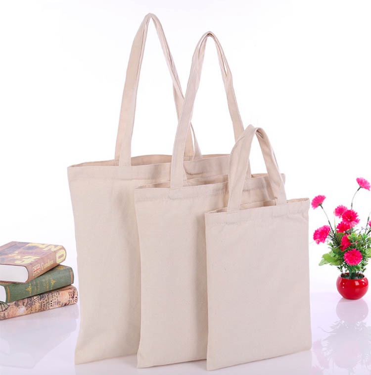 100 Pcs/Lot No Logo Tote Bag Cotton Shopping Bag Plain Nature Cotton Canvas Shoulder Bags No Zipper Inside
