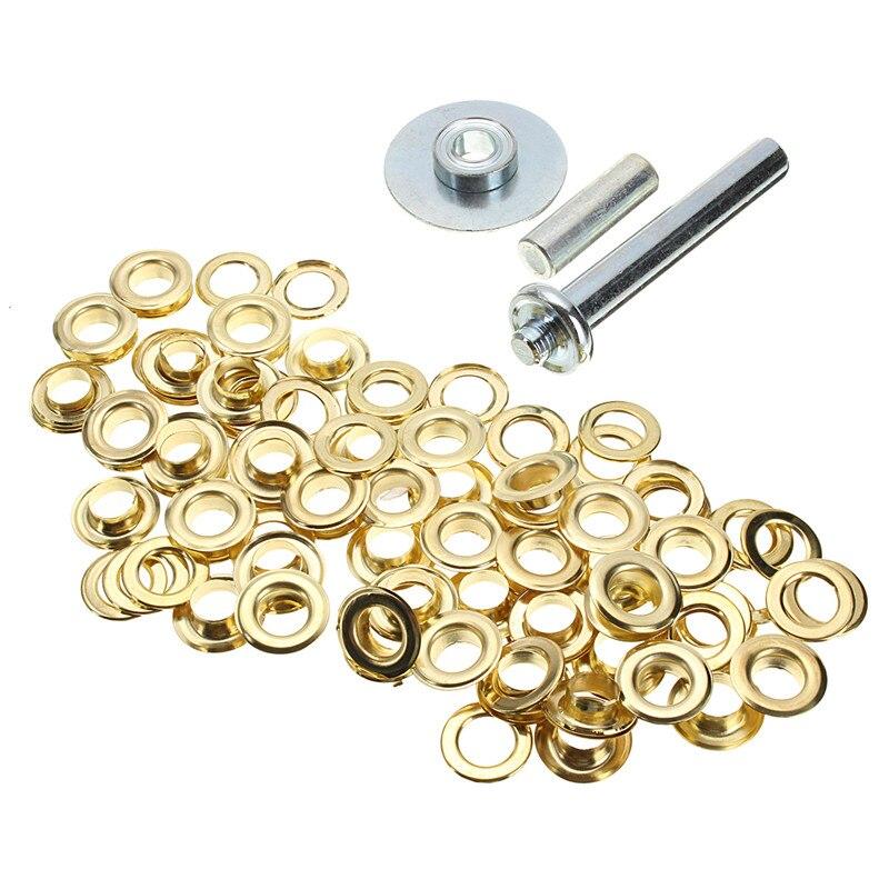 Brass Coated 100pcs Punch Grommets Tarp Repair Kit Set