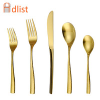 Gold Dinner Set Kitchen Cutlery Stainless Steel Golden Tableware set Christmas Gift Wedding Dinning Fork Knife Teaspoon Set