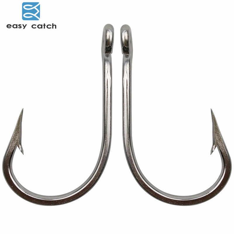 Легко поймать 30 шт 7691 Нержавеющаясталь Sharp большие толстые тунец рыболовные крючки, размер 5/0 6/0 7/0 8/0 9/0 10/0 11/0 12/0 13/0