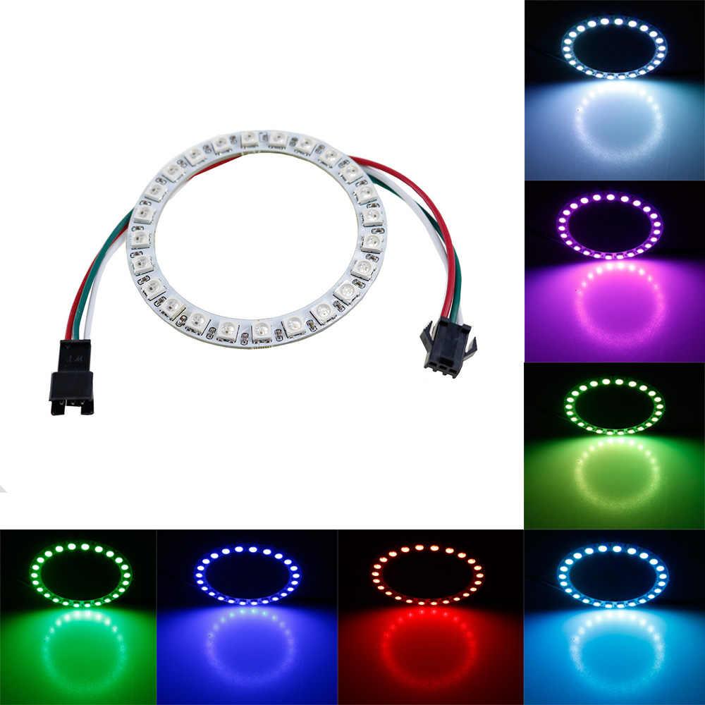 WS2812B модуль 24 бита пиксельное кольцо светодиодный s 5050 цветная (Rgb) Индивидуальный адресуемый КОЛЬЦО круглая Светодиодная лампа световое табло DC5V белый 1 шт.